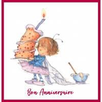 Carte Anniversaire enfants Fillette cuisinant un Gateau
