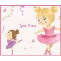 """Carte """"Gros Bisous"""" Petites Ballerines reproduction d'aquarelle"""