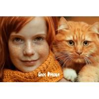 """Carte """"Gros Bisous"""" Fillette et son chat roux"""