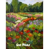 Carte Gros Bisous Peinture Champ fleuri et Forêt