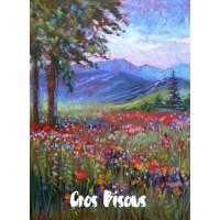 Carte Gros Bisous Peinture Champ Fleuri et Montagnes