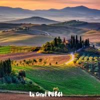 Carte Merci Peinture Paysage vert et violet