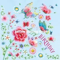 Carte Anniversaire Nina Chen Papillons et Fleurs,paillettes