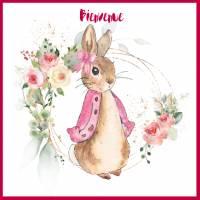 Carte Naissance Beatrix Potter soeur de Peter Rabbit rose
