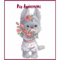 Carte Anniversaire Enfants Chat Minette et Roses