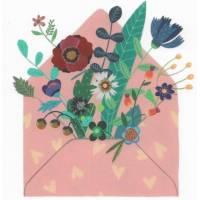 Carte Anniversaire Sophie Zazzeroni Enveloppe et Fleurs