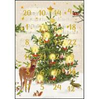 Carte calendrier de l'Avent L'Arbre de Noël Vintage