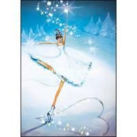 Carte Joyeux Noël ou Nouvel an double Patineuse sur Glace
