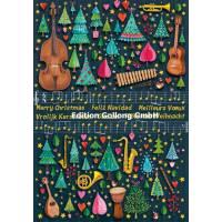 Carte Joyeux Noël ou Nouvel an double Mila Marquis Musique
