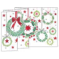 Carte Joyeux Noël et Nouvelle Année 3 D Couronnes de Noël
