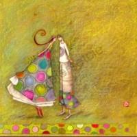Carte simple carrée Gaelle Boissonnard Les amoureux au rameau d'olivier