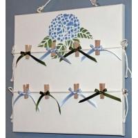 Pêle-Mêle 30x30  blanc Hortensias pochoir bleus