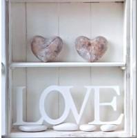 Carte Love Galets sur bois blanc