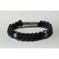 Bracelet macramé brun foncé perles metal argenté smiley
