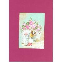 Carte artisanale double rectangulaire Rétro Béatrix Potter Petite souris et fleurs
