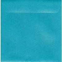 Enveloppe carrée turquoise nacré