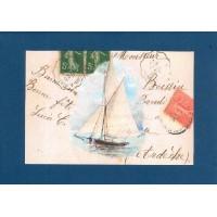 Carte artisanale Voilier fond marine