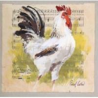 Carte Pascal Cessou Coq blanc
