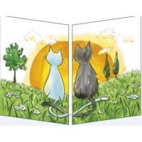 Carte Sophie Turrel Les chats et le coucher de soleil