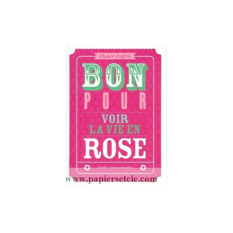 carte postale bon pour carte bon pour voir la vie en rose. Black Bedroom Furniture Sets. Home Design Ideas