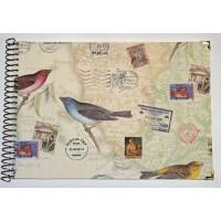 Grand Livre d'Or artisanal à spirales Carte et Oiseaux