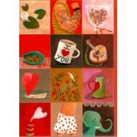 Carte double Izou rectangulaire 17 x 12 Voici des coeurs