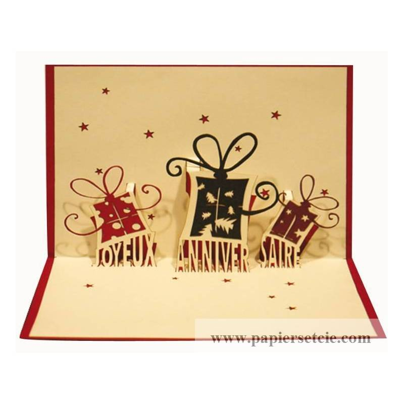 carte kirigami d coup e en relief joyeux anniv paquets cadeaux. Black Bedroom Furniture Sets. Home Design Ideas