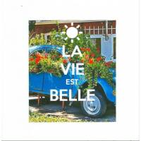 """Carte """"La vie est belle, 2 CV fleurie"""""""