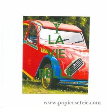 """Carte """"La vie est belle, 2 CV rouge"""""""