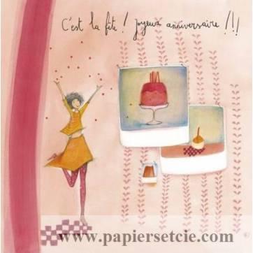 """Carte Anne-Sophie Rutsaert """" C'est la Fête! Joyeux Anniversaire"""""""