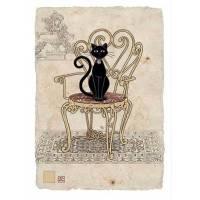 Carte double Chat sur chaise