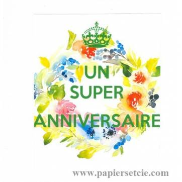 """Carte KC """"Un super Anniversaire"""" Couronne de Fleurs"""