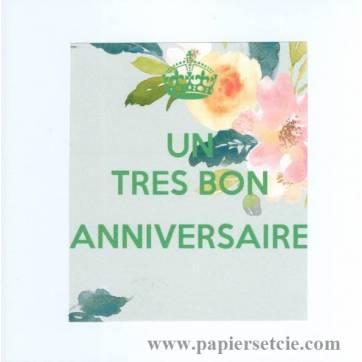 """Carte KC """"Un Très bon Anniversaire"""" Coin fleurs"""