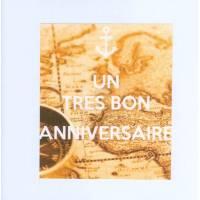"""Carte KC """"Un Très bon Anniversaire"""" Boussole carte Europe Afrique"""