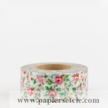 Masking Tape Washi Tape Fleuri Liberty blanc