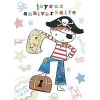 """Carte Anniversaire anglaise """"Joyeux Anniversaire"""" Petit Pirate"""