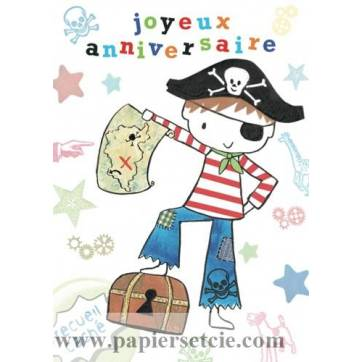 """Carte anglaise """"Joyeux Anniversaire"""" Petit Pirate"""