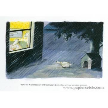 Carte humoristique Olivier Tallec Le Chien sous la pluie