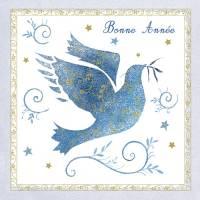 Carte double Bonne Année La Colombe bleue
