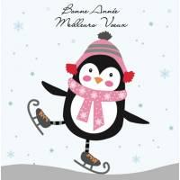 Carte double Bonne Année Pingouin Patineur