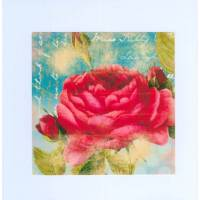 Carte artisanale double carrée shabby chic rose rouge