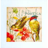 Carte artisanale shabby chic 2 oiseaux et fleurs
