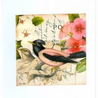 Carte artisanale shabby chic oiseau à tête noire