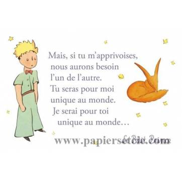 """Carte Le Petit Prince """"Mais si tu m'apprivoises"""""""
