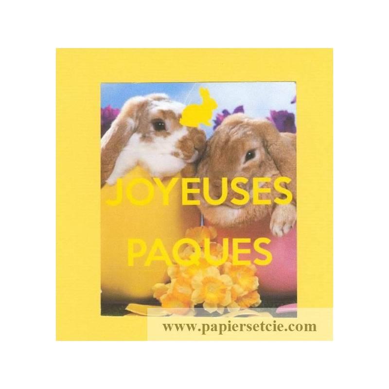 Carte double carr e joyeuses p ques lapin fond jaune - Carte joyeuses paques ...
