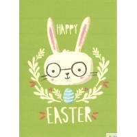 Carte artisanale simple Joyeuses Pâques Lapinou à lunettes