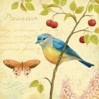 Carte vintage Daphné Brissonnet Oiseau bleu et baies rouges