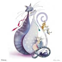 Carte Anniversaire Marilyn Robertson Happy Cats family