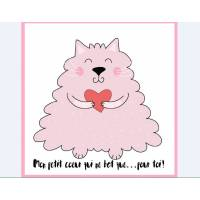 "Carte artisanale simple Chatte rose ""Mon petit coeur..."""