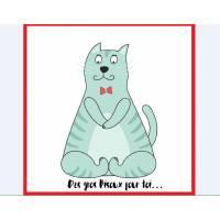 """Carte artisanale simple Chat """" Des gros Bisoux pour toi..."""""""
